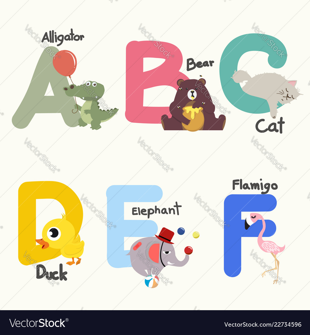 Animal alphabets for children from a to f