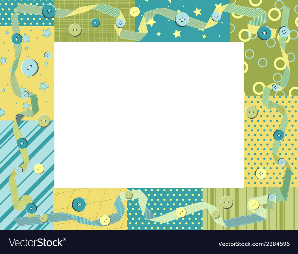 Baby frame or card with ribbon and buttons vector image