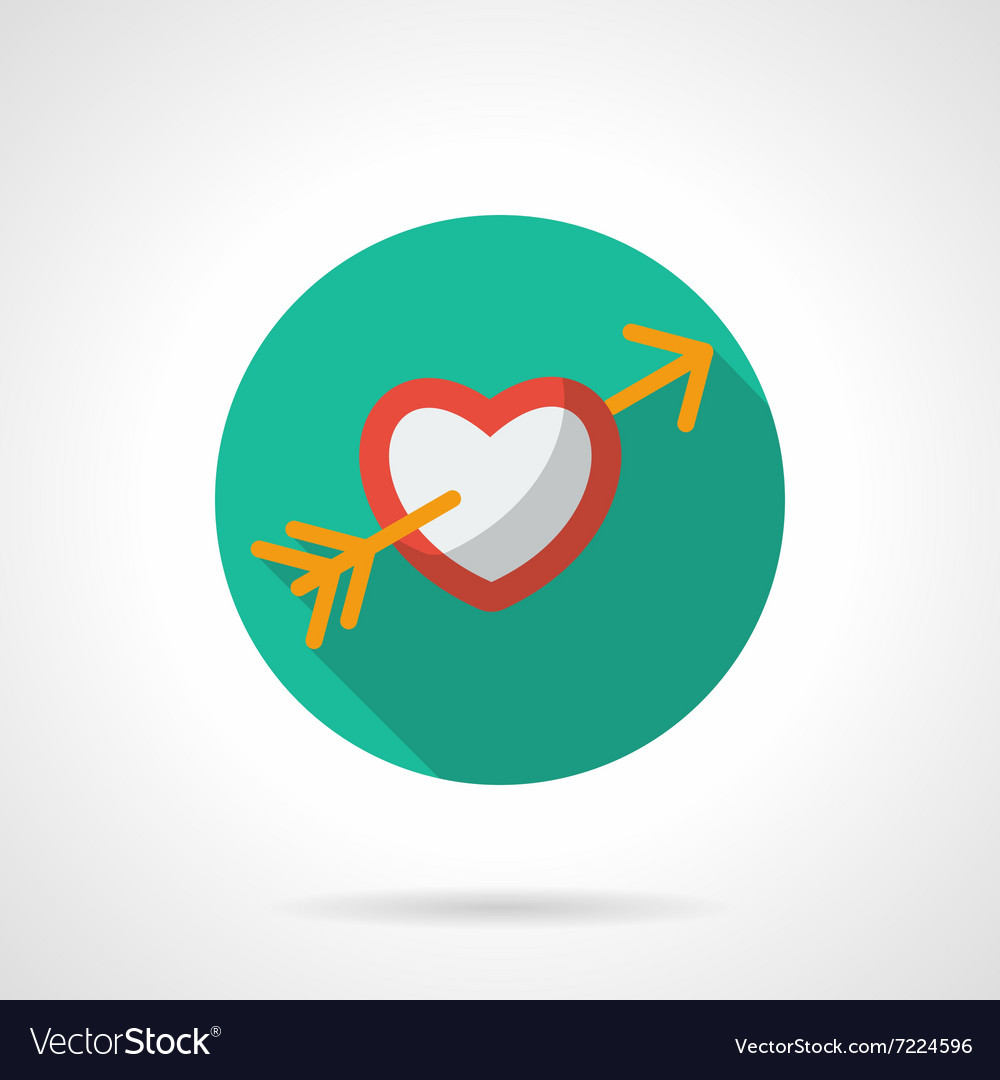 Heart with arrow round flat icon vector image