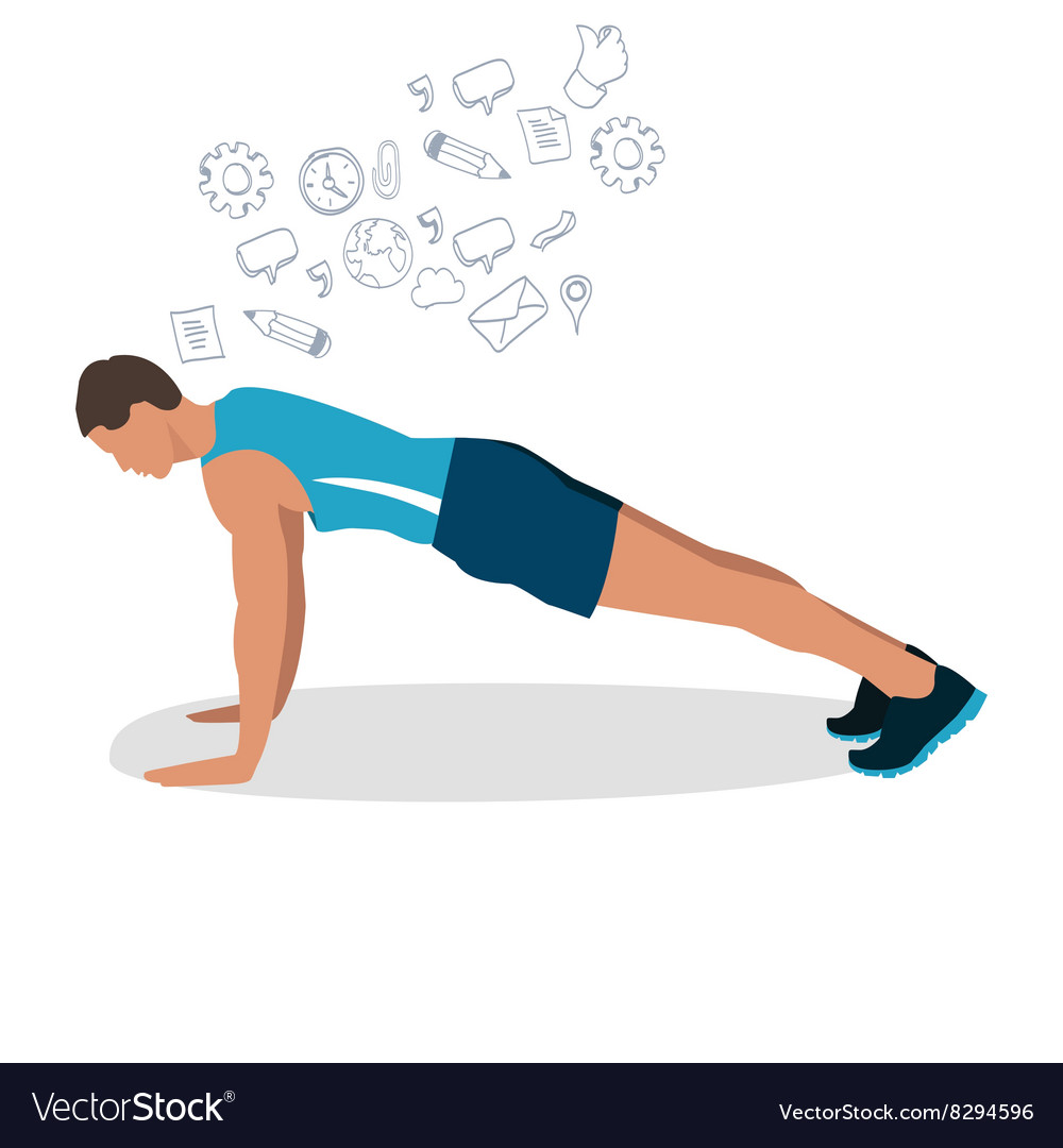 Man male push up gym workout exercise vector image