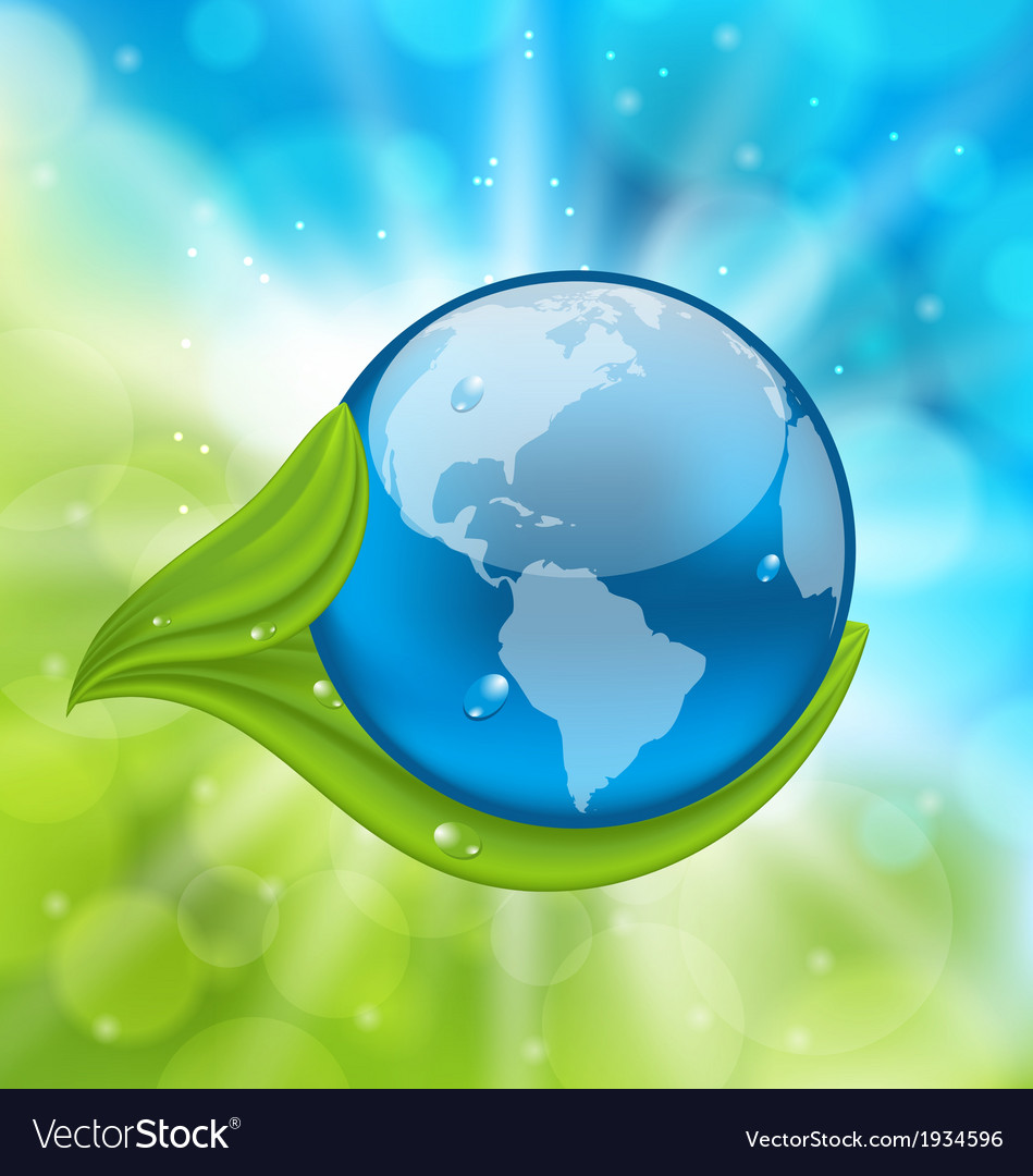 Planet Earth with green leaves vector image