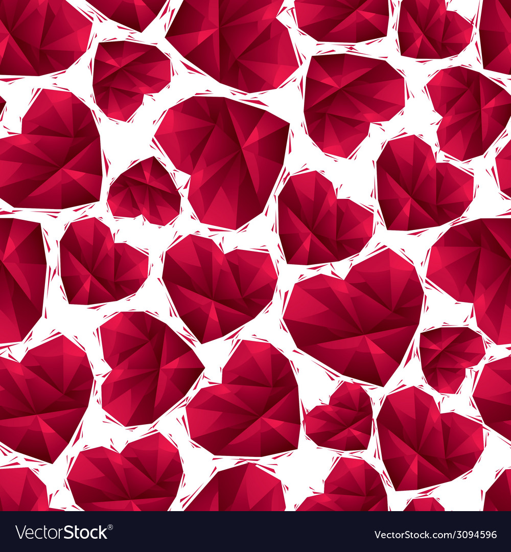 Red hearts seamless pattern geometric contemporary