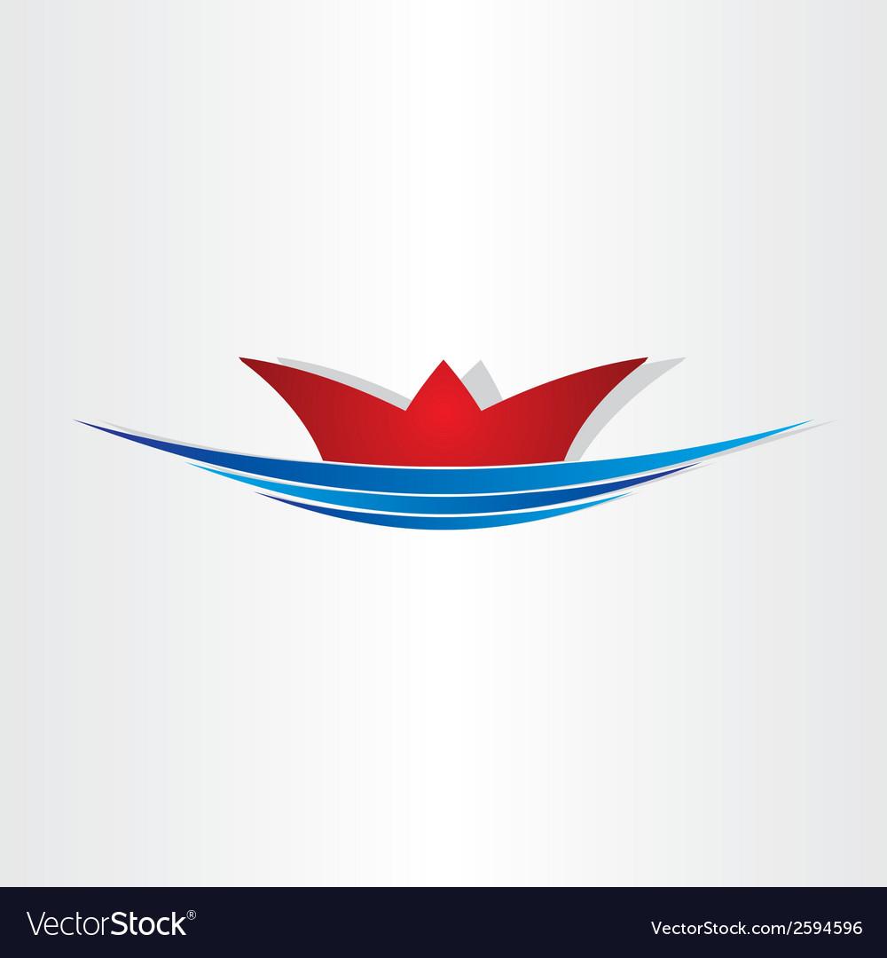 Ship on sea sailing symbol vector image