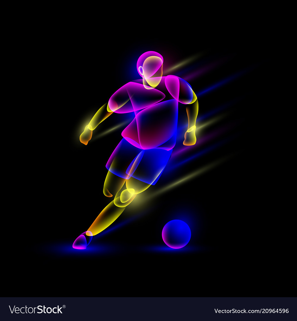 Soccer player dribbling with a soccer ball vector image