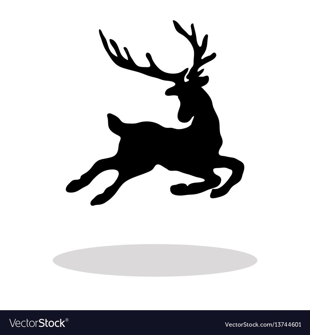 Christmas Reindeer Silhouette.Black Silhouette Christmas Reindeer White