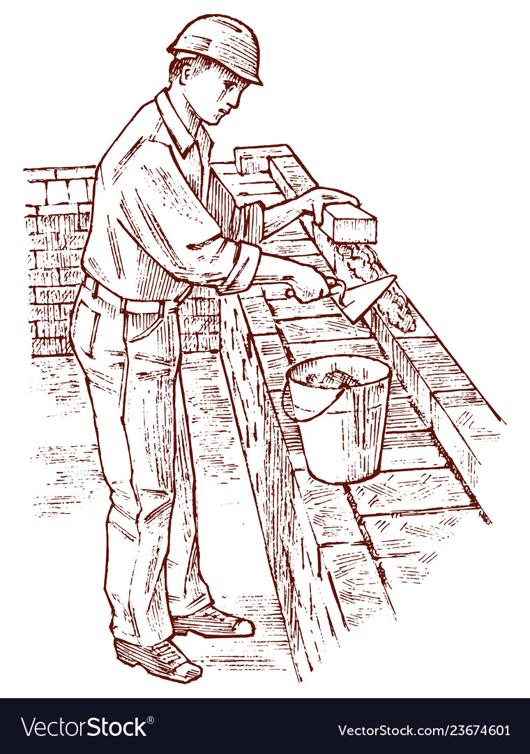 Bricklayer or man builder on the roof of the house