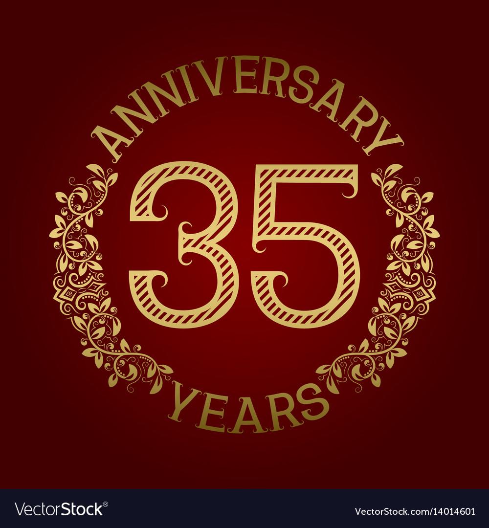 Golden emblem of thirty fifth anniversary
