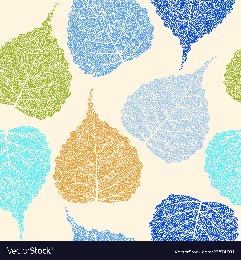 High Detail Skeleton Leaf Seamless Pattern Vector Image