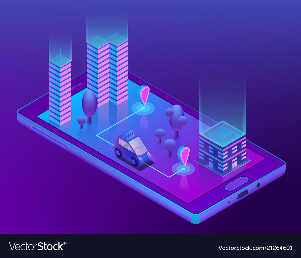 Isometric smart taxi app for smartphone