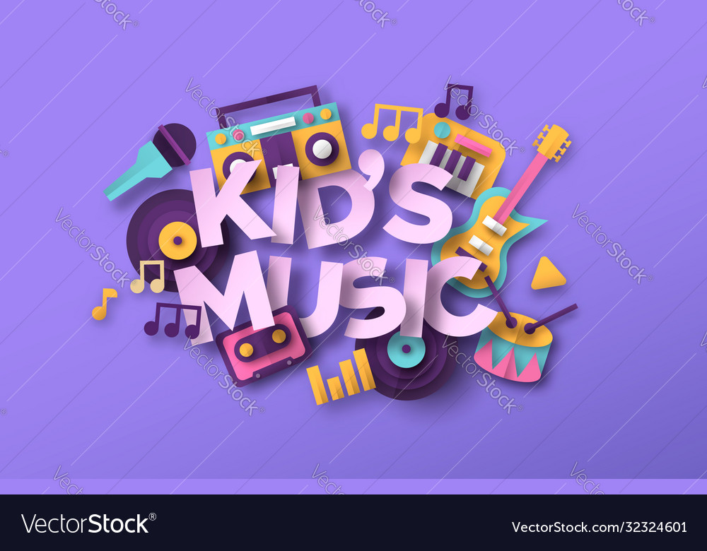 Kid music quote with papercut musical toy