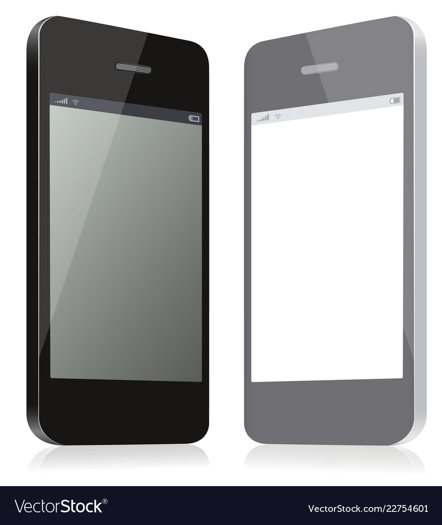 Pair of models smartphones black and gray of