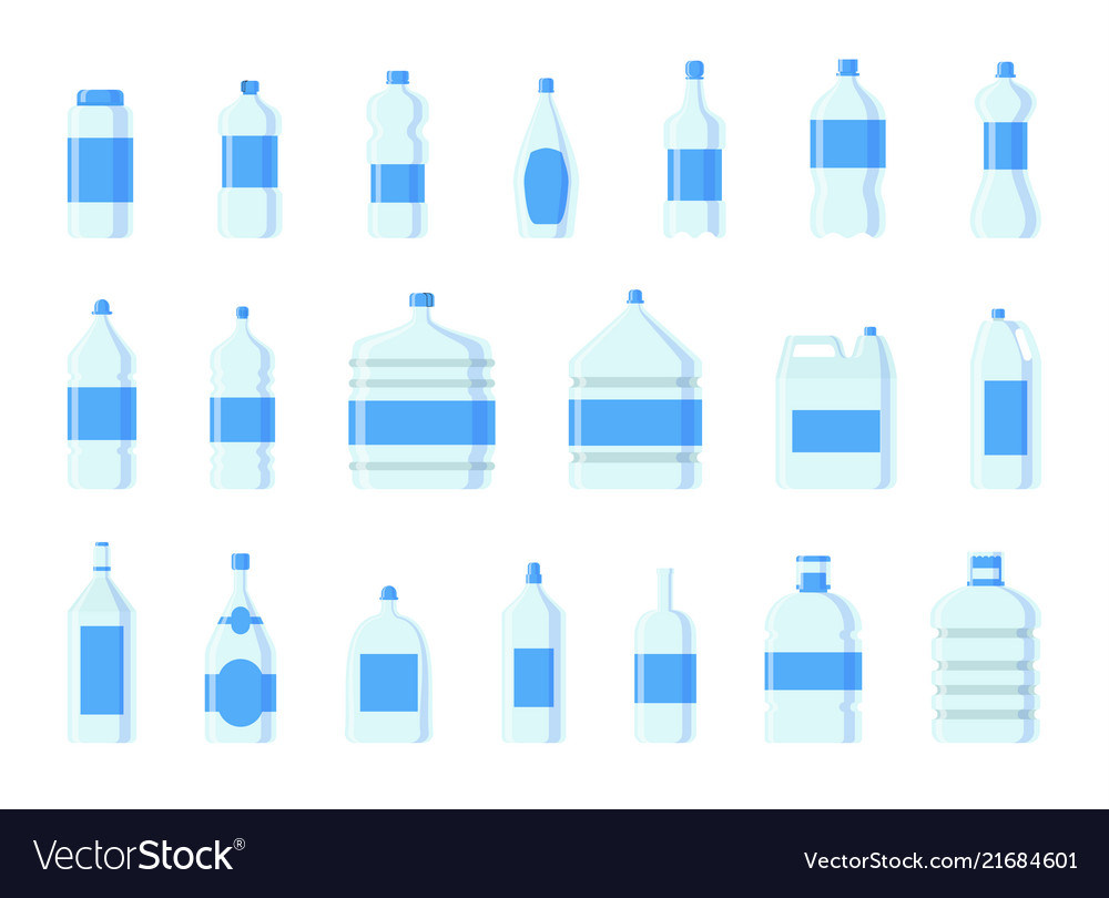 Plastic water bottle blank nature blue
