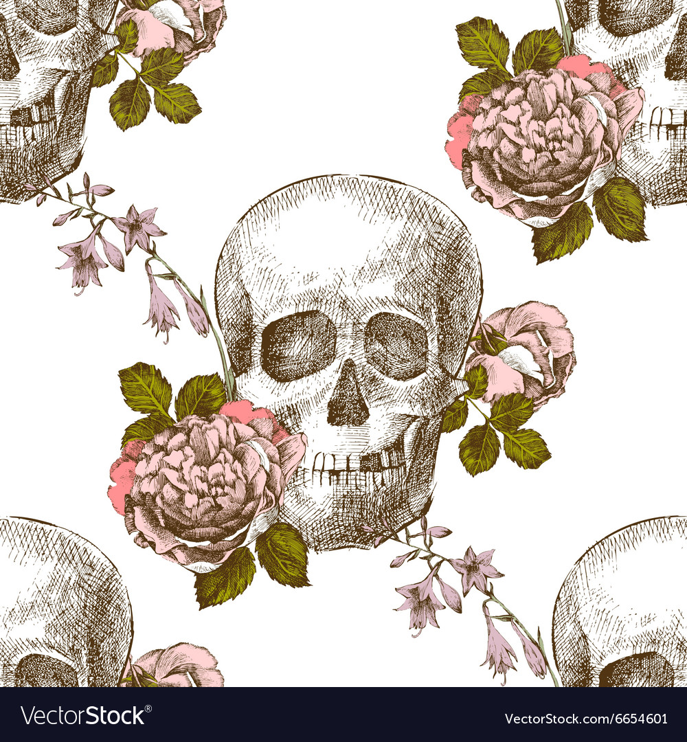 Seamless pattern skull with flowers