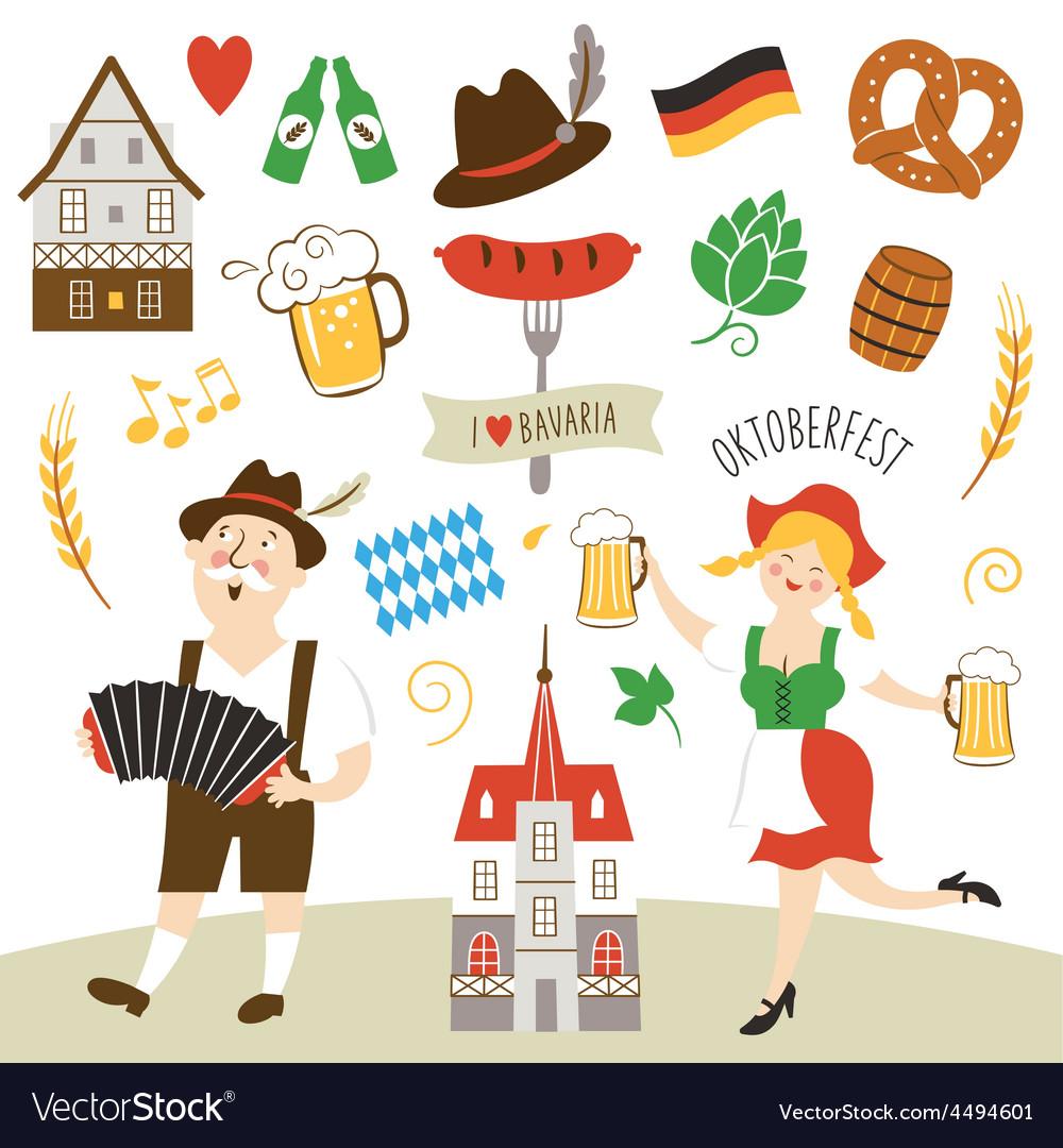 Set Of Germany And Bavaria Symbols Royalty Free Vector Image