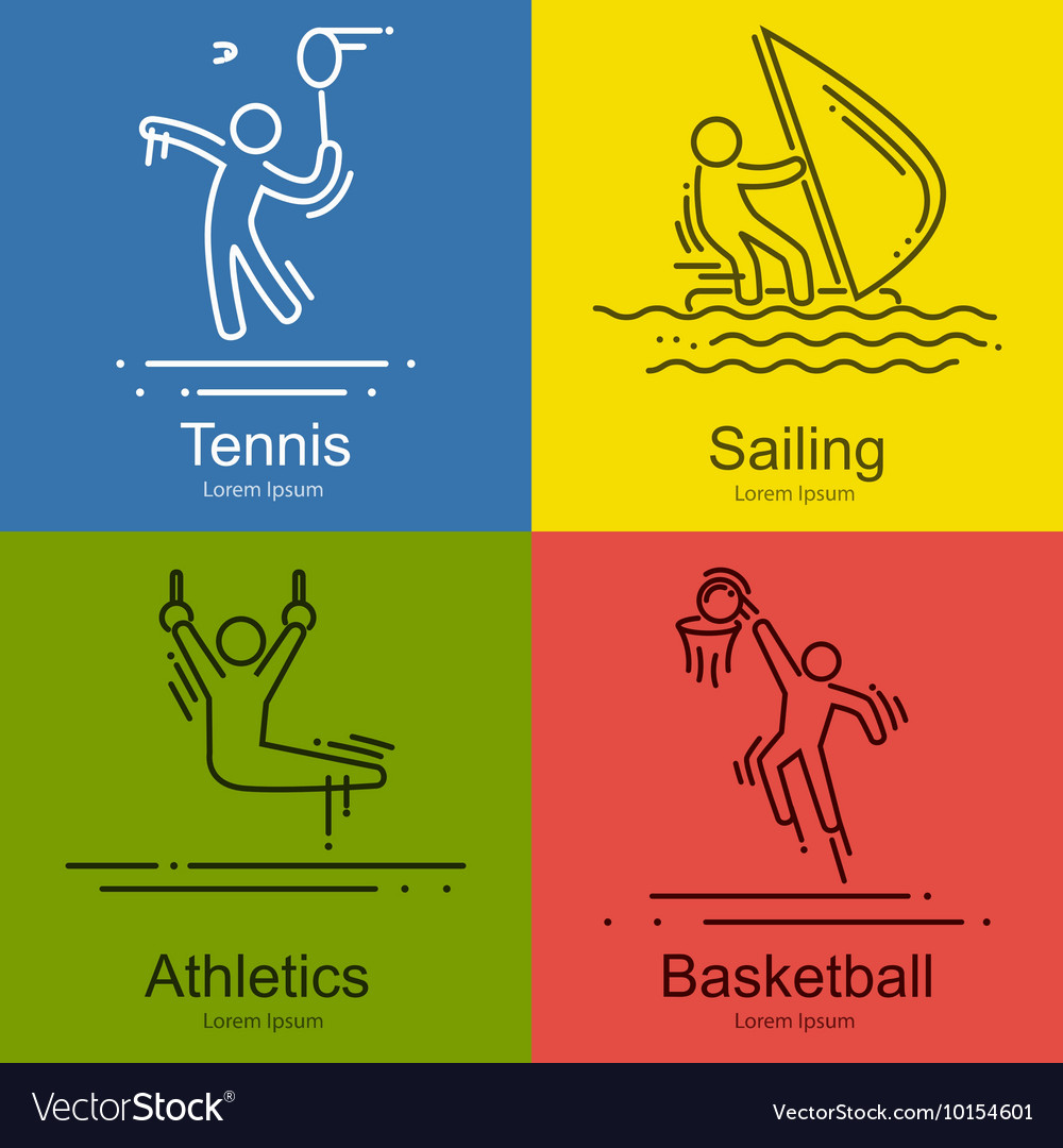 Sports thin line icons set pictograms