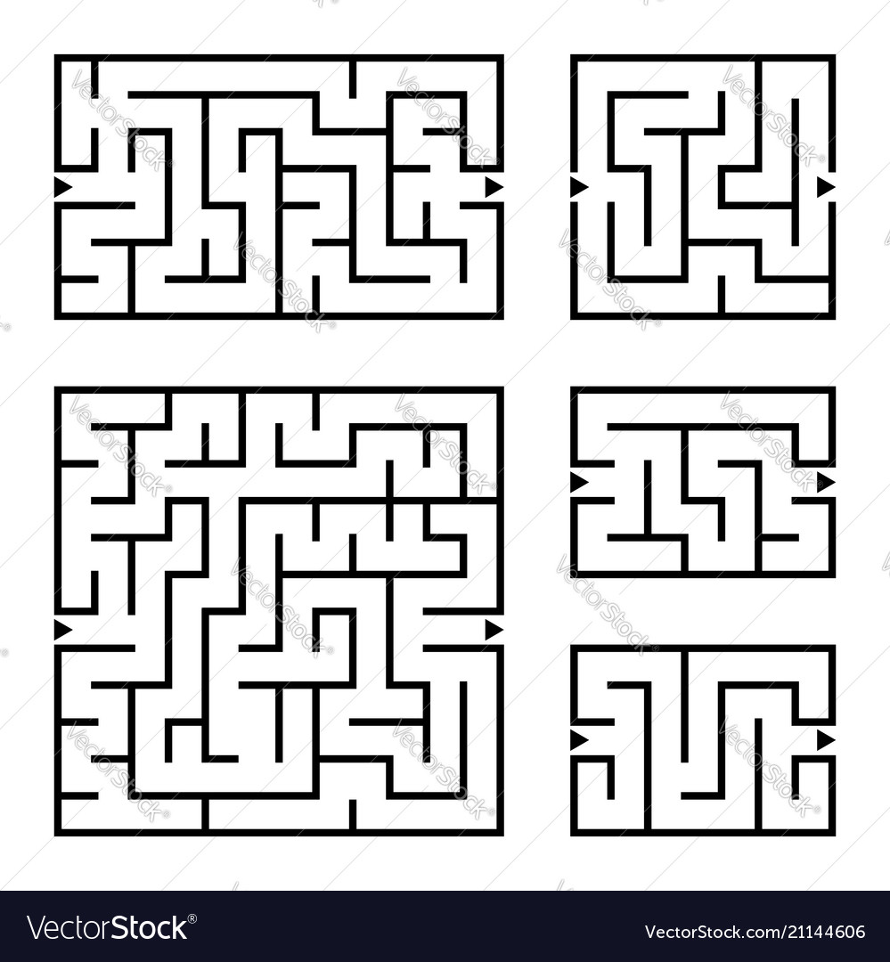 A set of square and rectangular labyrinths with