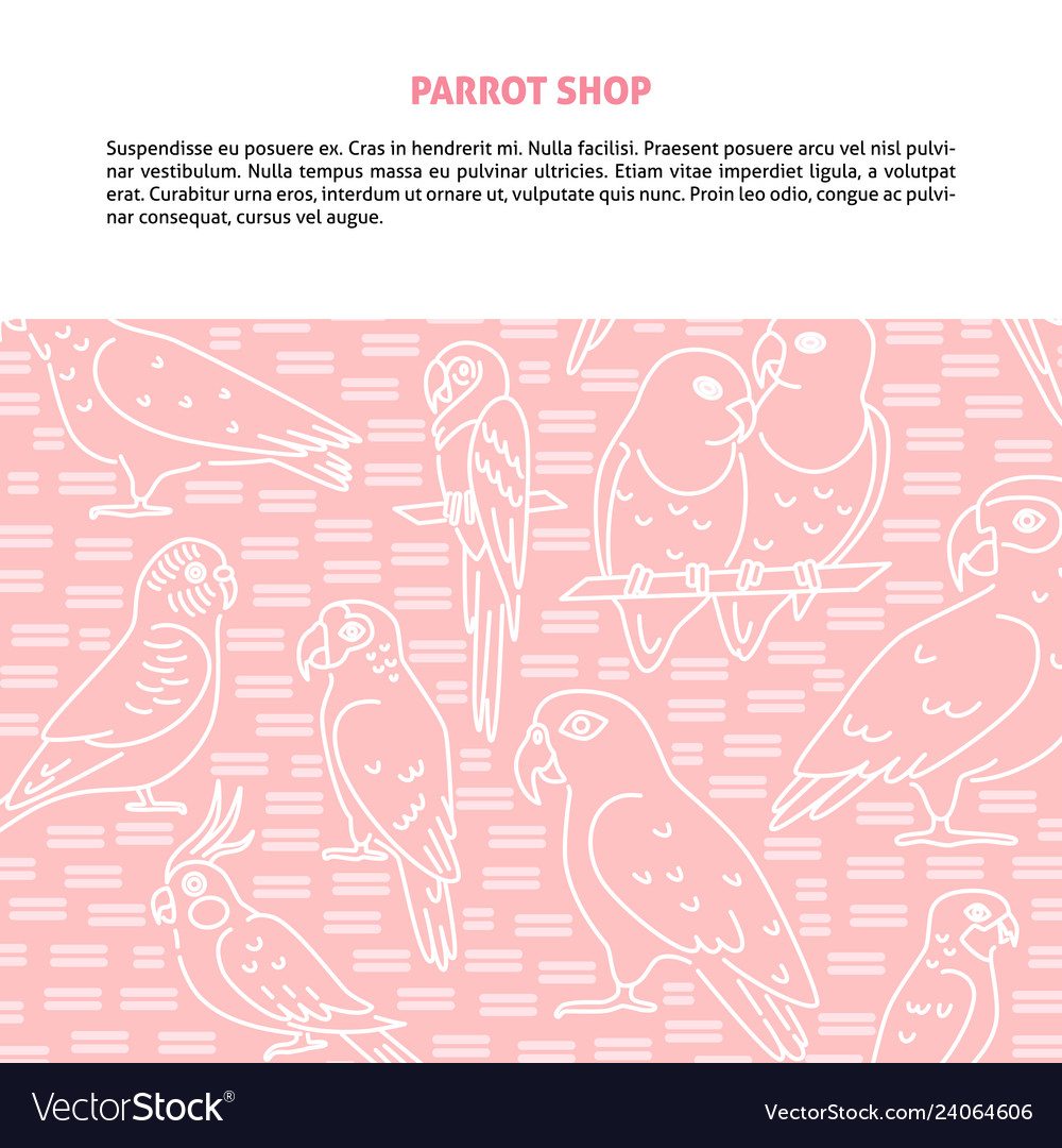 Background with parrots in line style and place