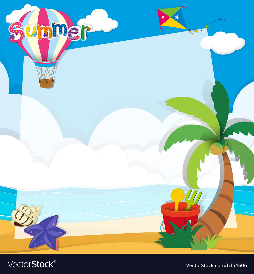 Border design with summer theme Royalty Free Vector Image