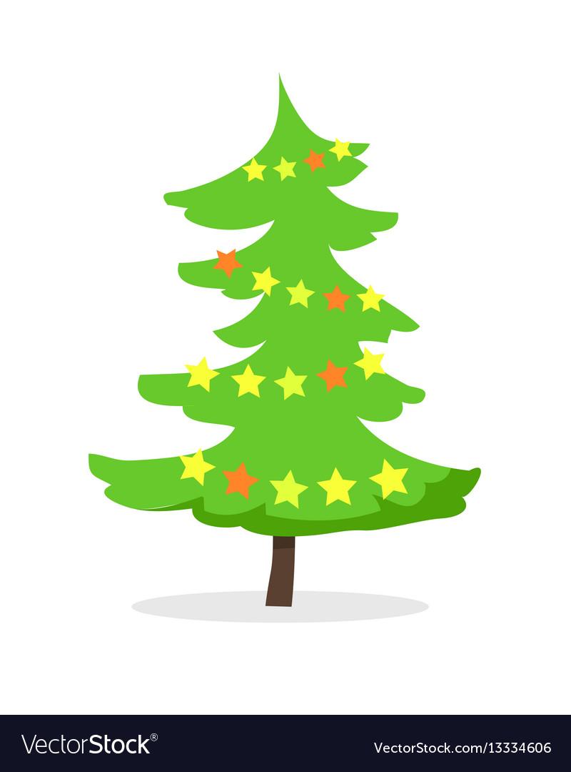 Cartoon fir tree in xmas holiday concept vector image