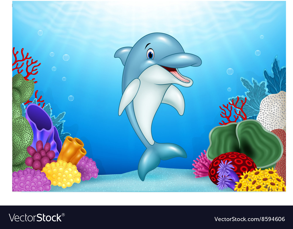 Cute Dolphin with beautiful underwater world