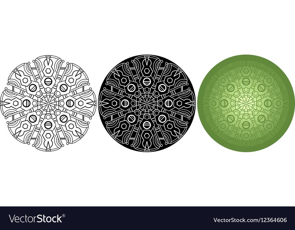 Geometric mandala for coloring book Black white