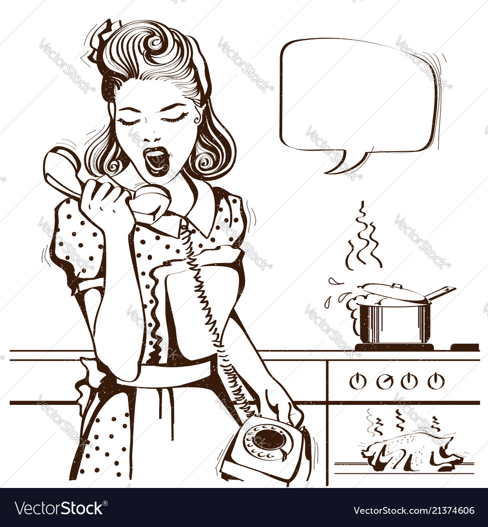 Housewife shouting on phone in kitchen