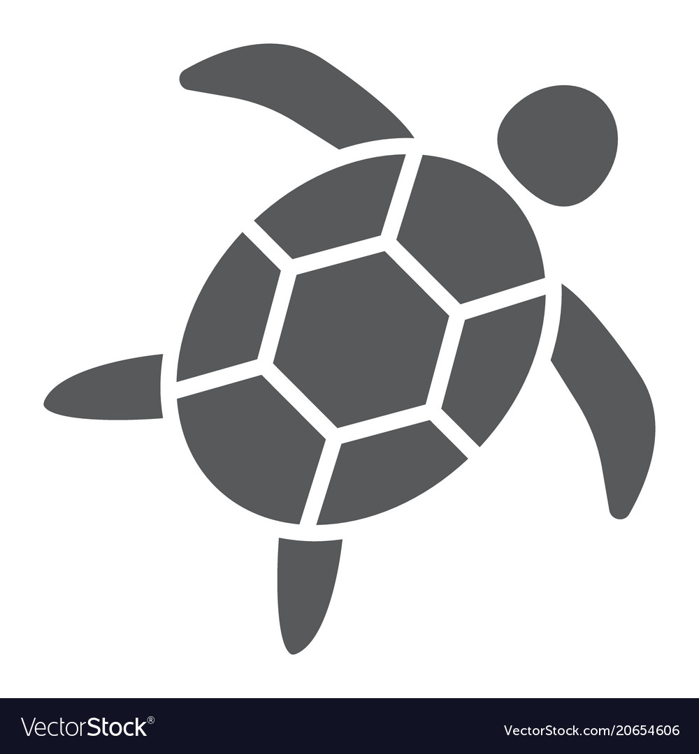 Sea turtle glyph icon animal and underwater