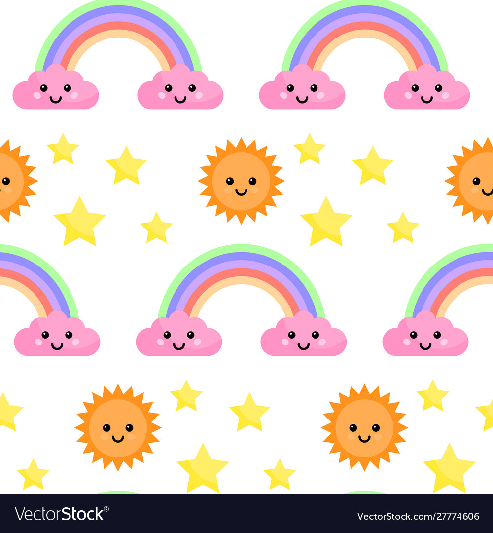 Seamless pattern with rainbow and clouds