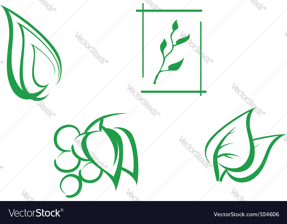 Set of leaves symbols