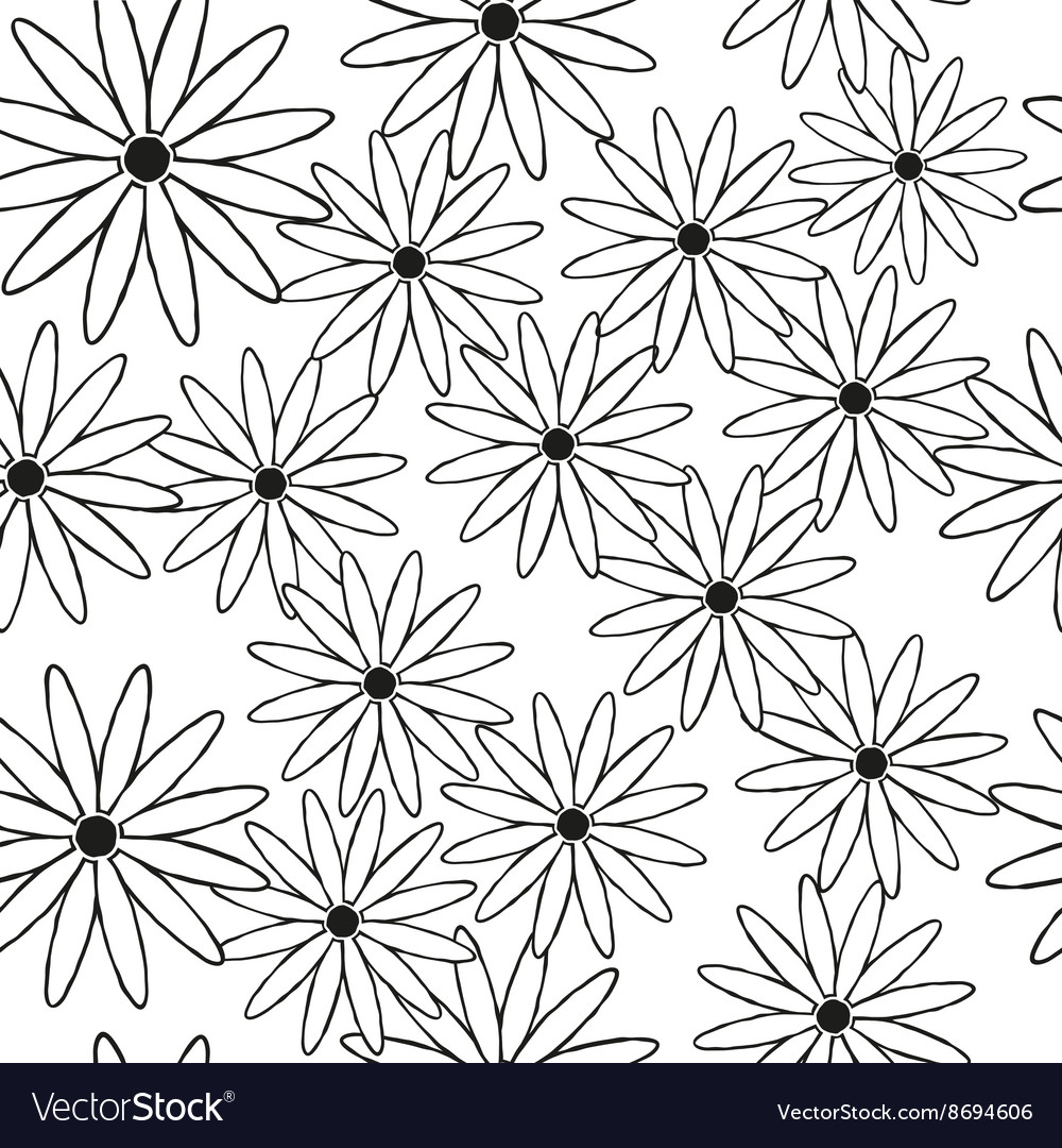Silhouettes of daisies in black as a seamless