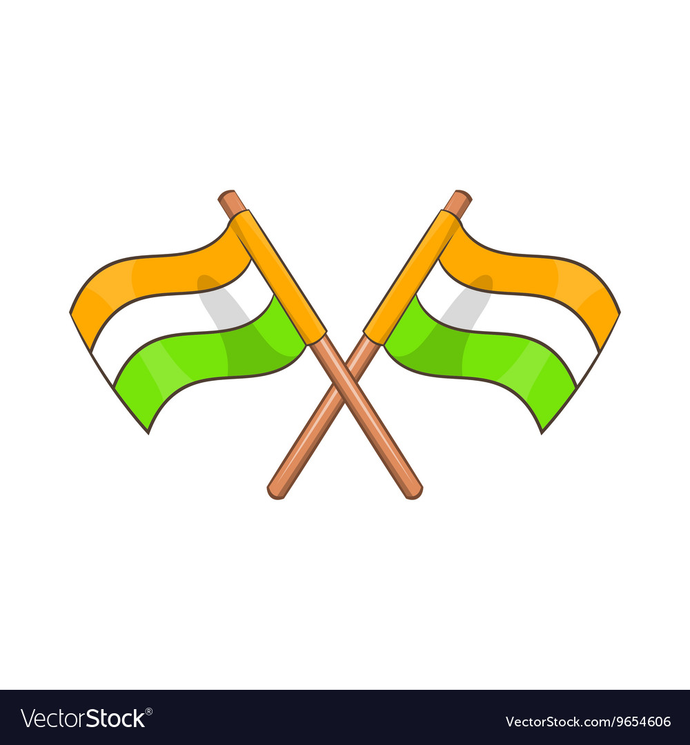 Two crossed flags of India icon cartoon style vector image