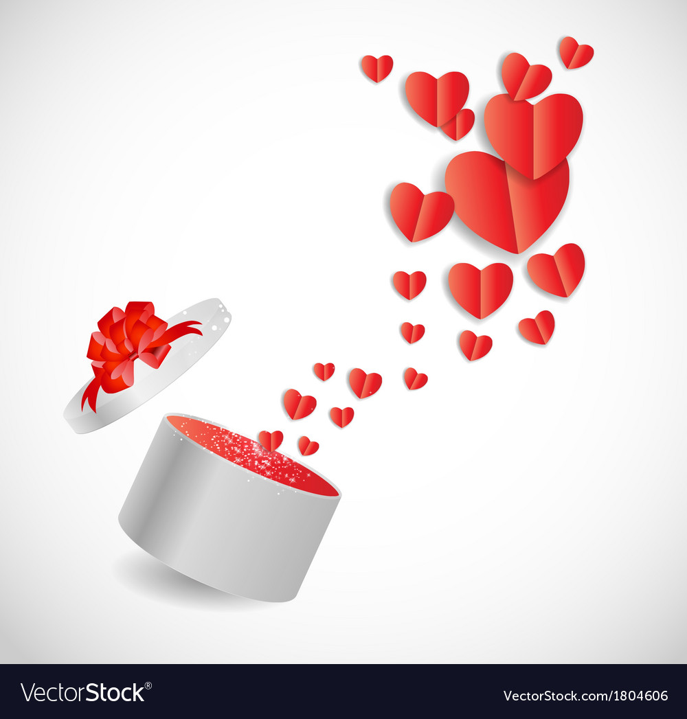 valentines day card with gift box and heart shaped