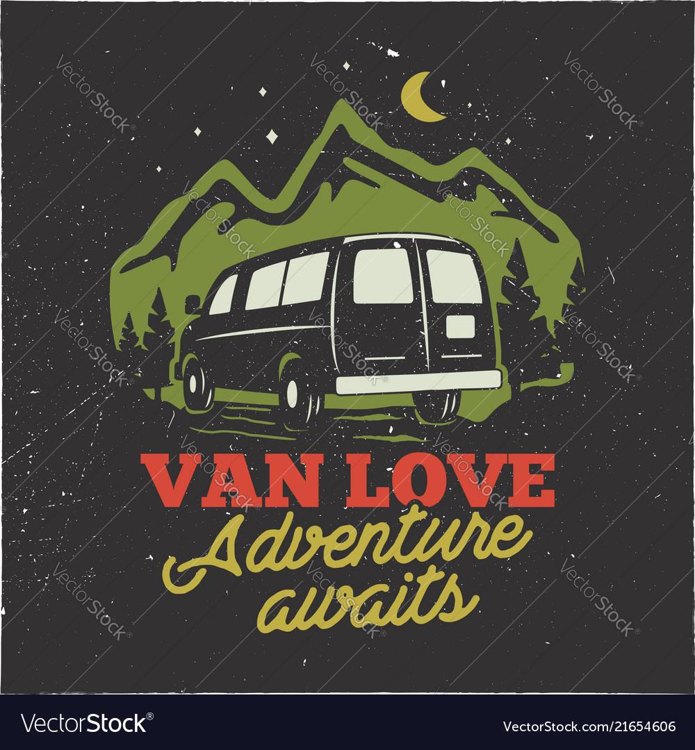 Vintage hand drawn camp logo badge van love