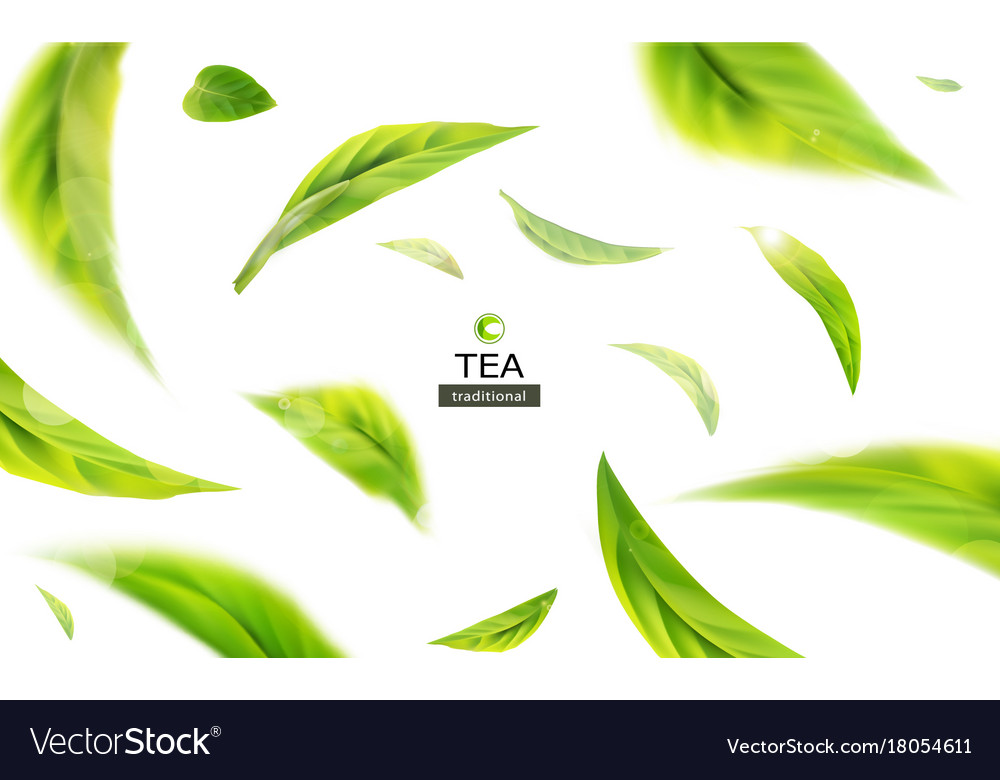 3d with green tea leaves in motion