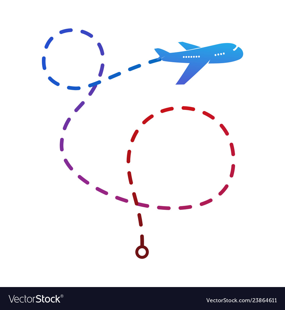 Airplane logo on color flight route