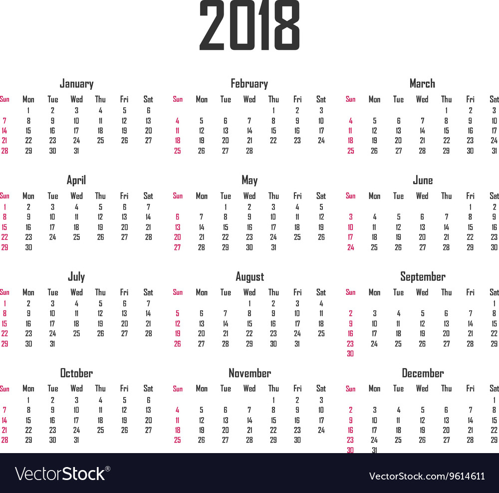 Calendar for 2018 Week starts on Sunday vector image