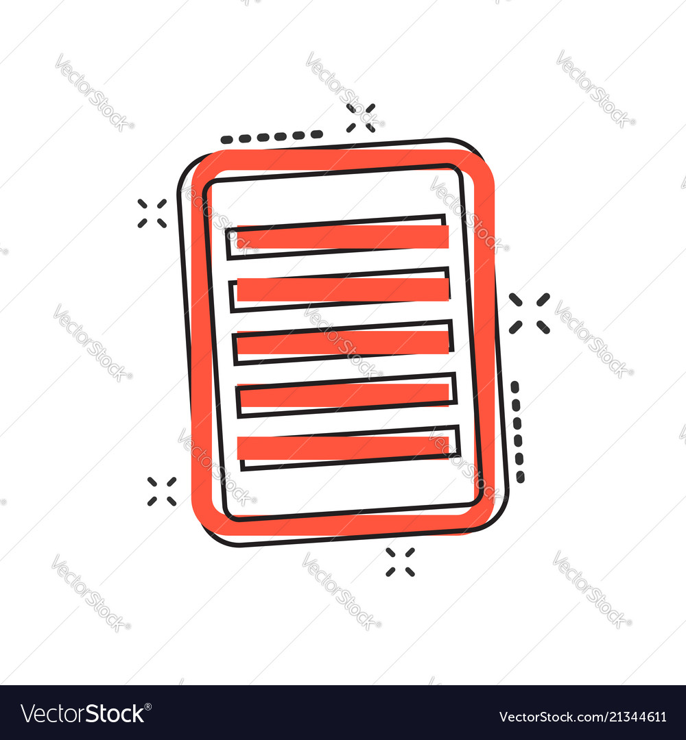 Cartoon document icon in comic style note sign