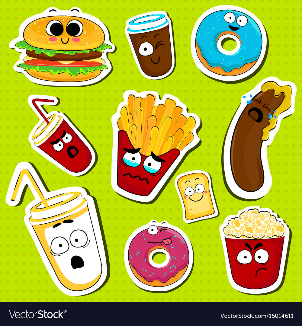 cartoon fast food cute character face stickers vector image
