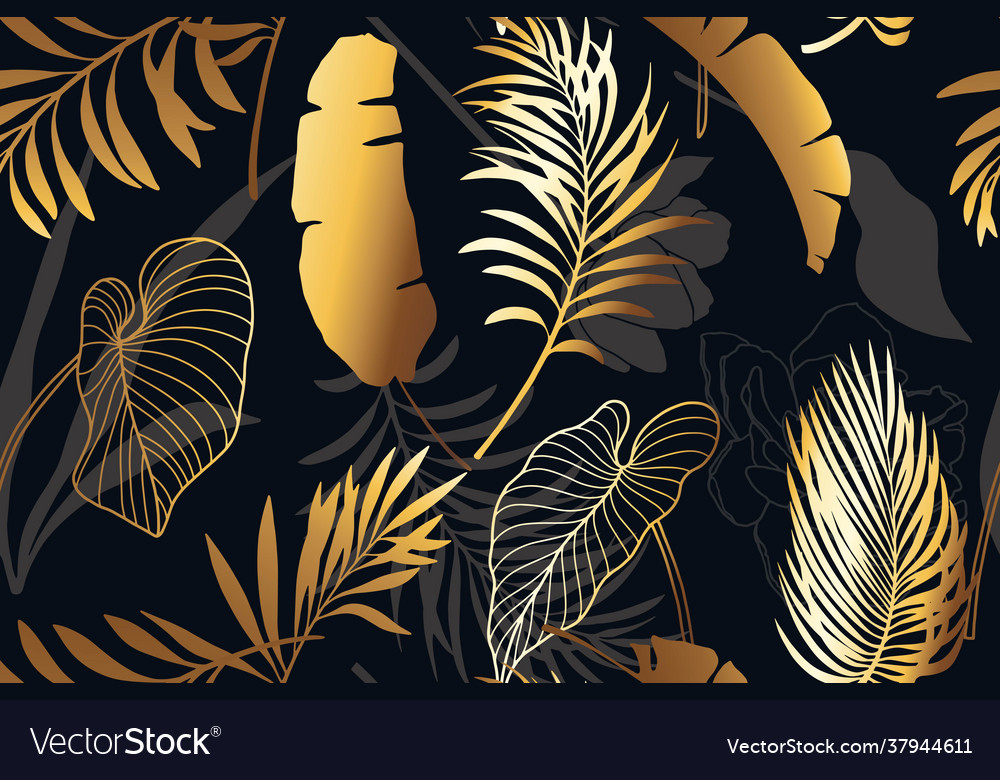 Luxury black and gold seamless pattern with golden