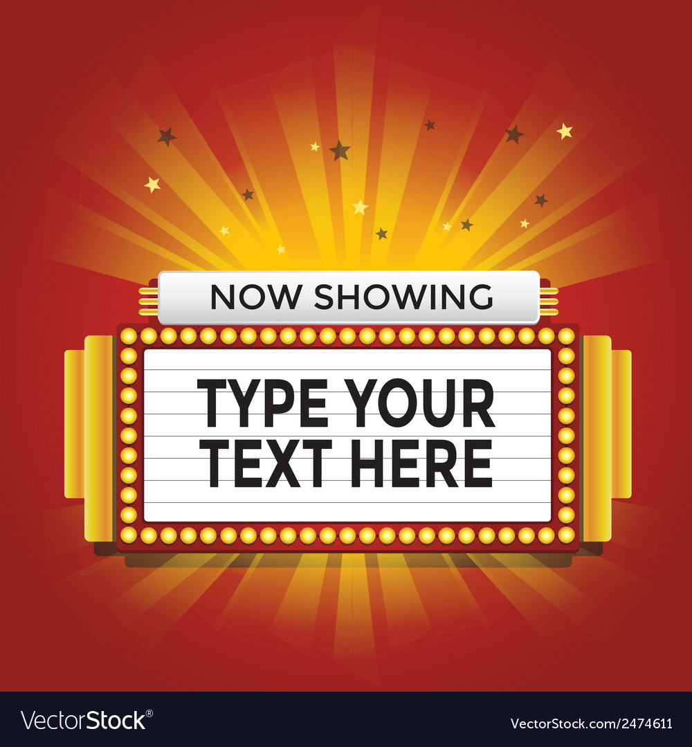Now Showing Retro Cinema Neon Sign Royalty Free Vector Image