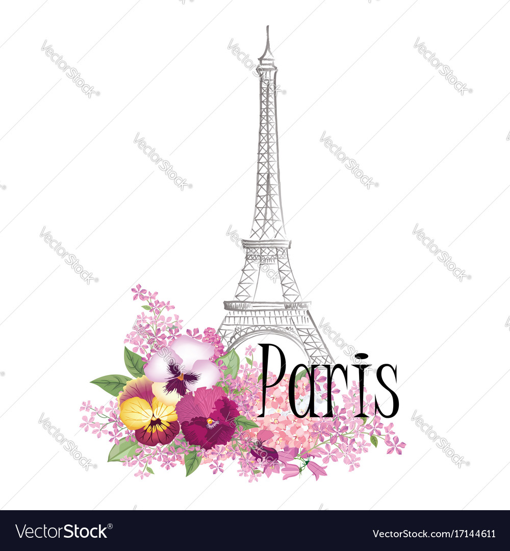 Paris floral sign french landmark eiffel tower