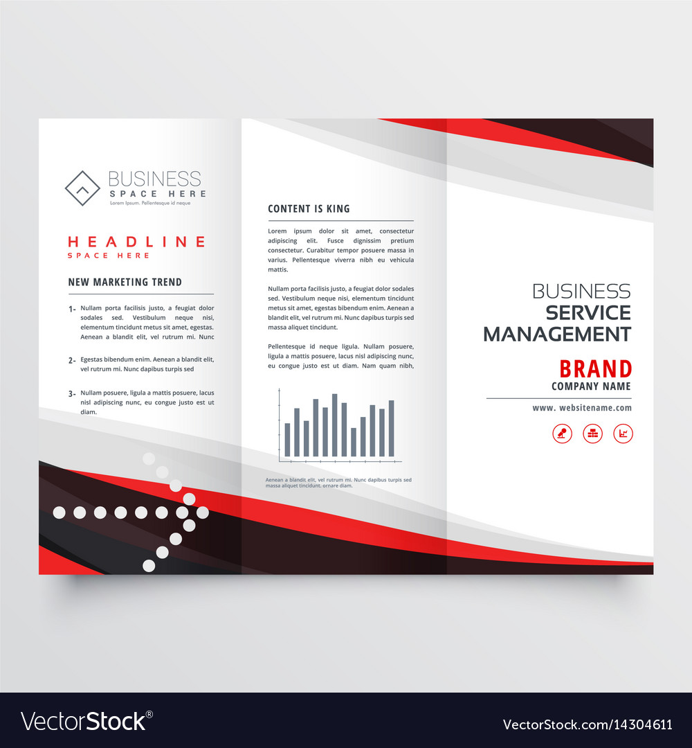 red and black trifold brochure design for your vector image