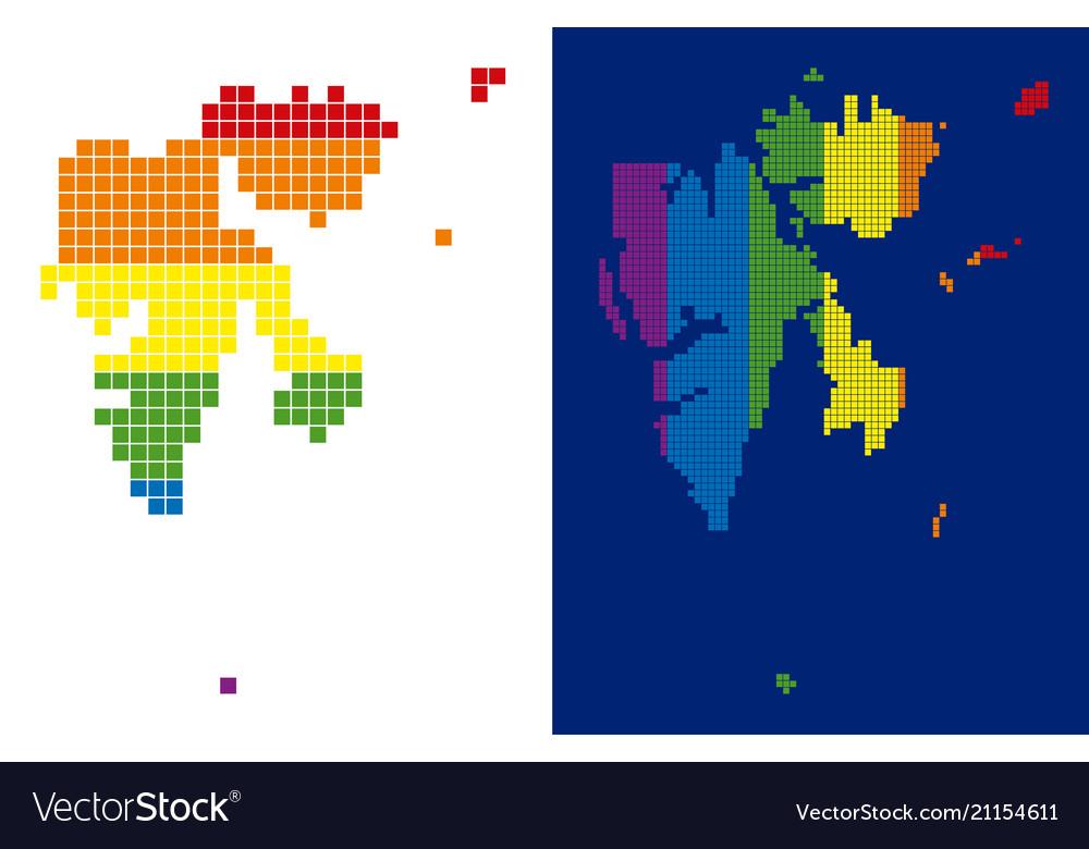 Spectrum pixel dotted svalbard island map Vector Image