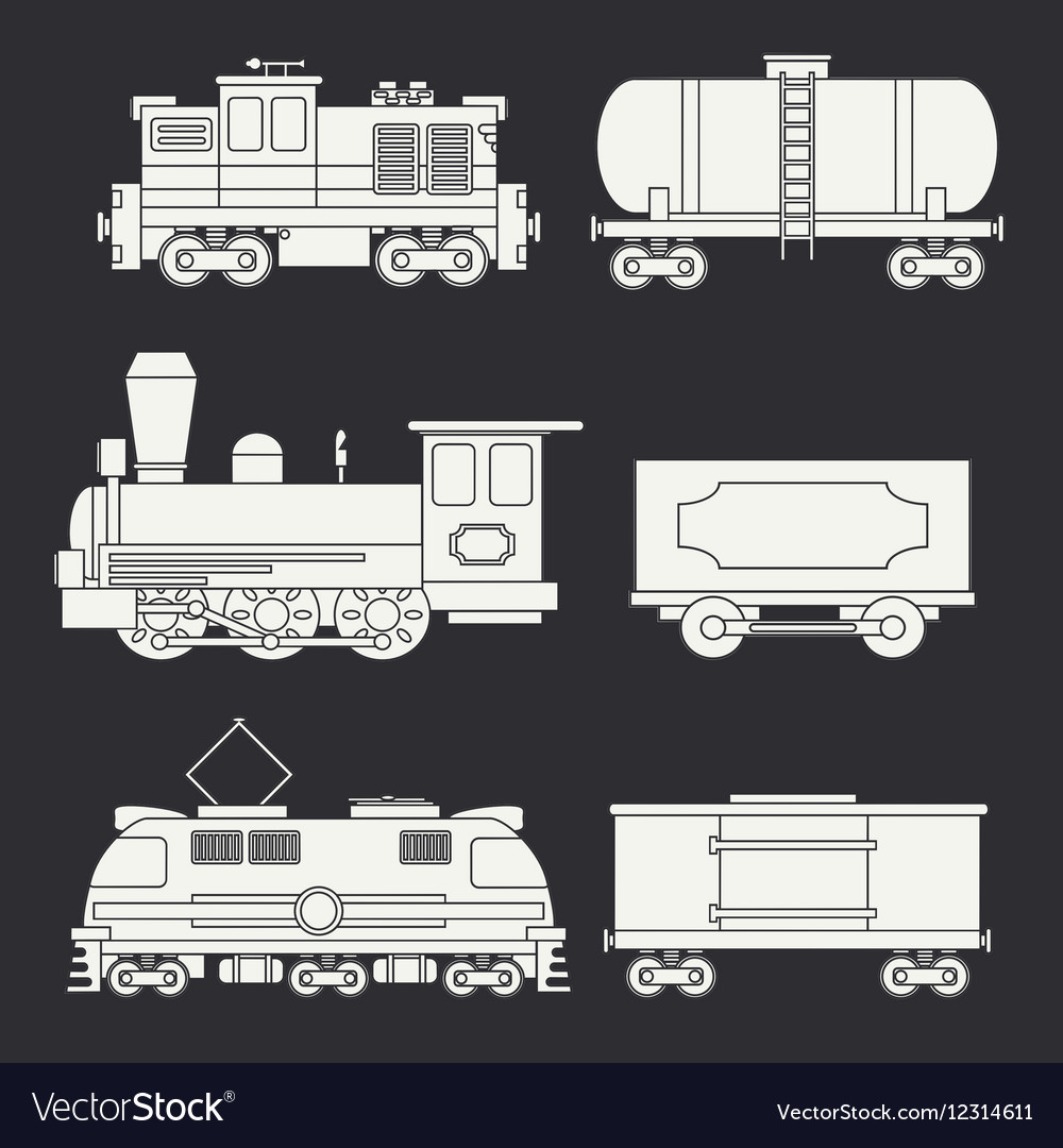 Trendy flat modern and vintage trains with cargo