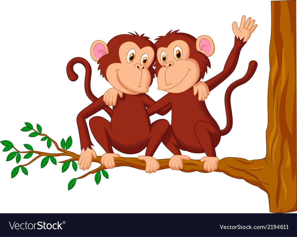 two monkeys cartoon sitting on a tree royalty free vector
