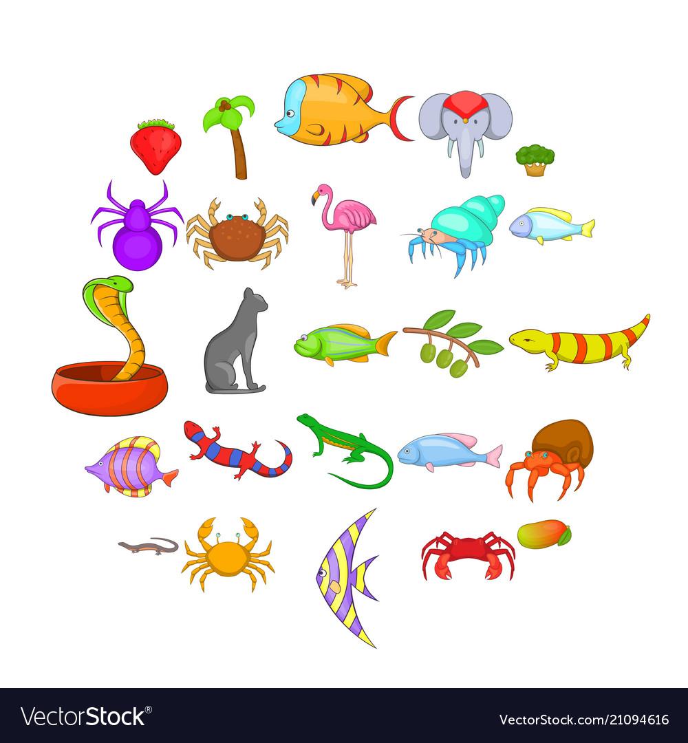 Animal kingdom icons set cartoon style