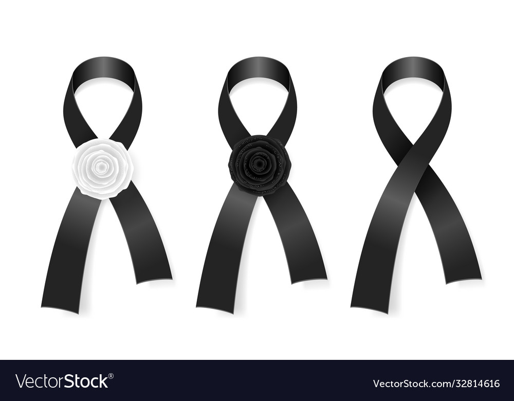 Black ribbons collection funeral symbol