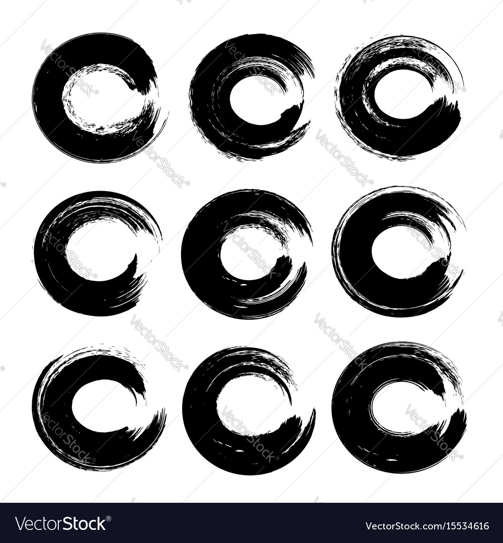 Black textured handdrawn circle strokes isolate vector image