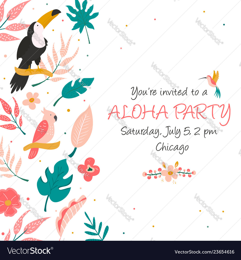 Cocktail invitation with flowers birds and leaves