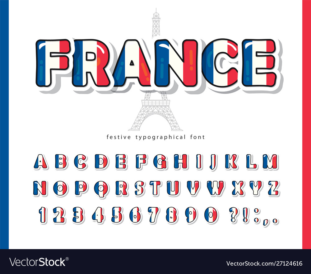 France cartoon font french national flag colors